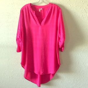 Hot Pink High low tunic top